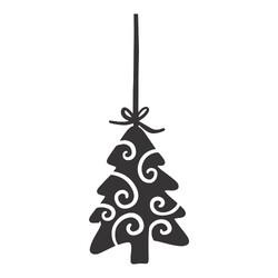 Recorte Enfeite Natal Pinheiro Arabesco